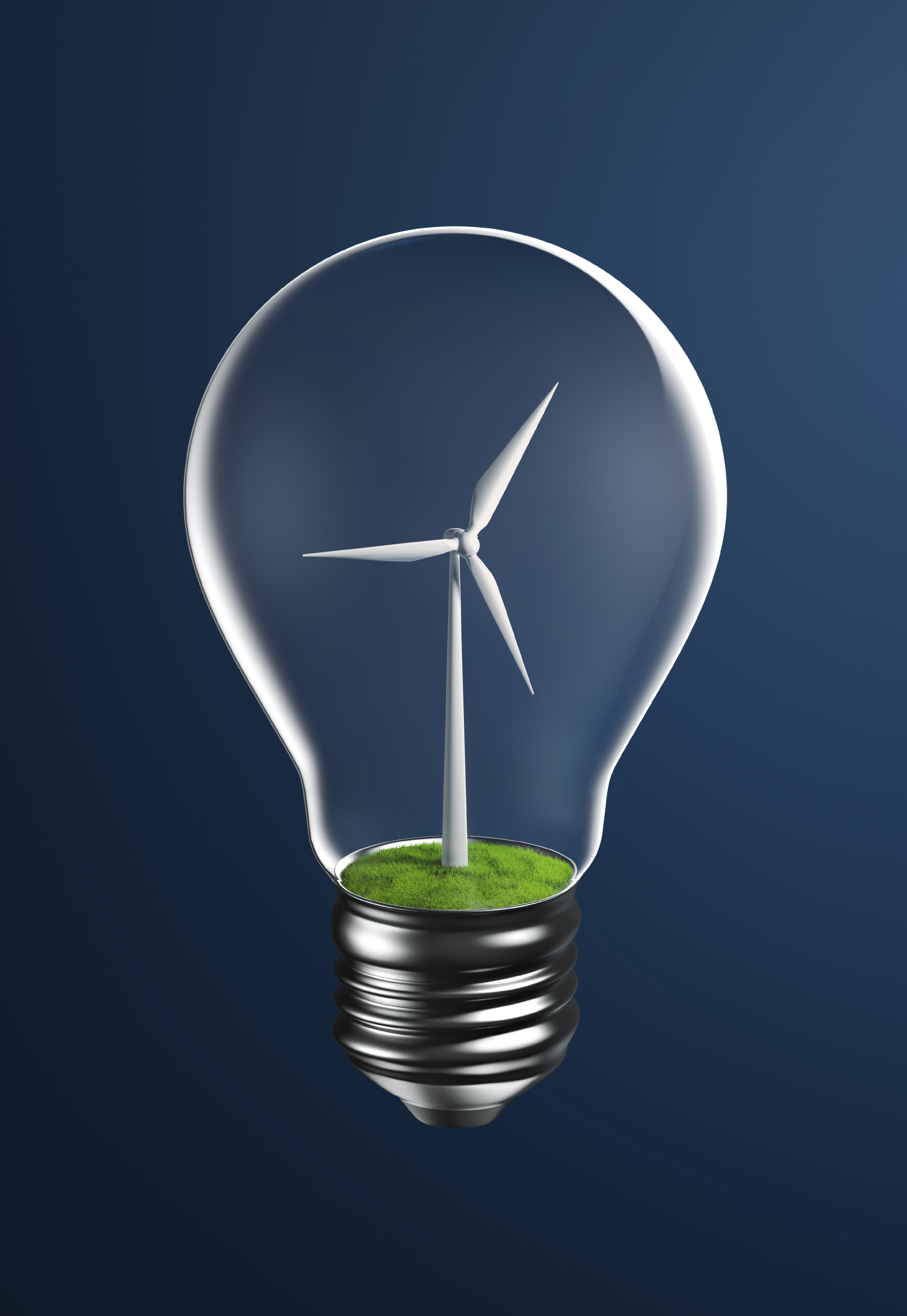 Wind Turbine on Grassland Inside a Light Bulb